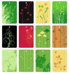 Colorful floral tags vector