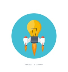 Flat rocket icon startup concept project vector
