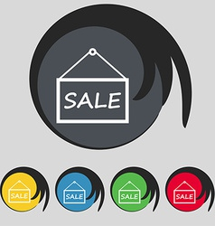 Sale tag icon sign symbol on five colored buttons vector