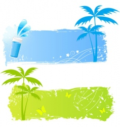 Two grungy palms banners vector