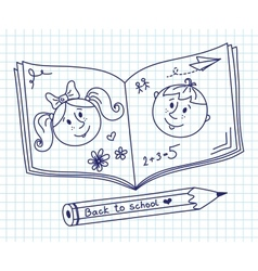 Scribble in a writing-book boy and girl vector