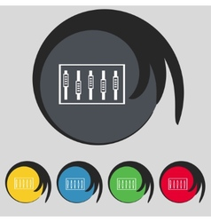 Dj console mix handles and buttons level icons set vector
