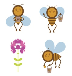Honey bee characters vector