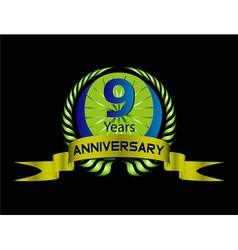 Celebrating 9 years anniversary green laurel vector
