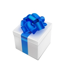 Realistic 3d present box with bow tie vector
