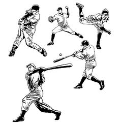Baseball players vector