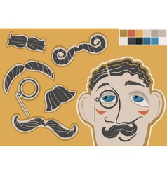 Gentleman face and mustaches vector