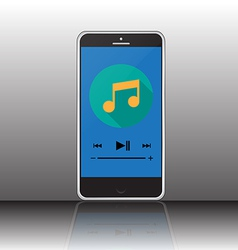 Music player on smartphone screen vector