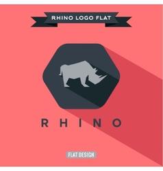 Icon rhino on flat style logo vector