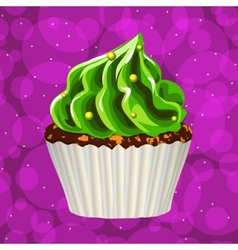 Cake with cream on a colorful background vector
