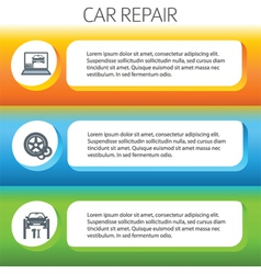 Car repair service horizontal banner set vector