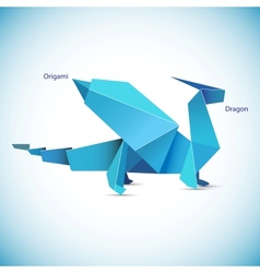 A blue origami dragon figure vector