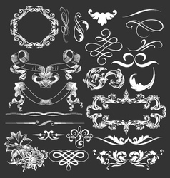Decorative vintage elements and ribbons set vector
