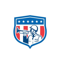 Soldier blowing bugle crest stars retro vector