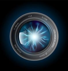 Lightning discharges inside the camera lens vector