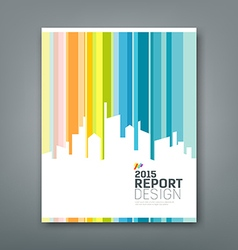 Cover annual report silhouette building colorful vector
