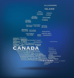Canada map made with name of cities vector