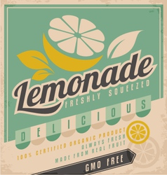 Retro poster design for ice cold lemonade vector