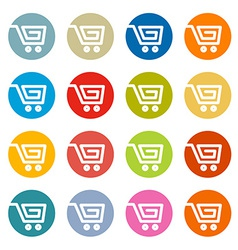 Shopping cart basket web symbols icons set in vector