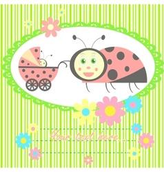Ladybird mom and baby card vector