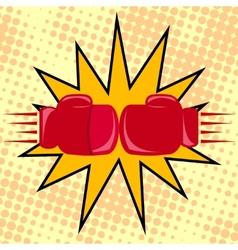 Boxer gloves hitting vector
