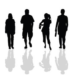 People walking black silhouette vector