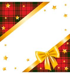 Gold stars bow and ribbon and tartan vector