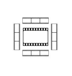Cinema logo movie theater sign film strips card vector