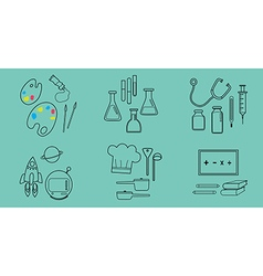 6 occupation icons blue color background vector