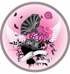 Gramophone with wings vector
