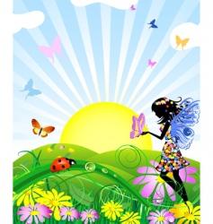Flower fairy vector