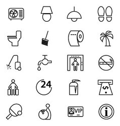 Hotel and restaurant line icons 3 vector