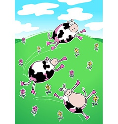Cows on a green hill dancing vector