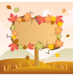 Autumn wood signage vector