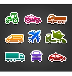 Set of sticky stickers transport color icons vector