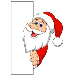 Santa cartoon with blank sign vector