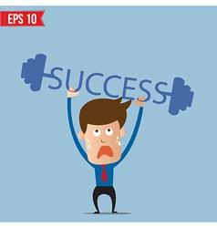 Business man lifting success barbell - - eps vector