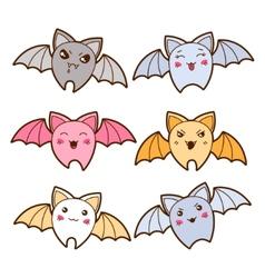 Set of kawaii bats with different facial vector