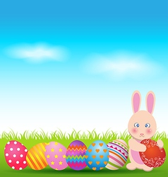 Colorful eggs and cute bunny for easter day vector
