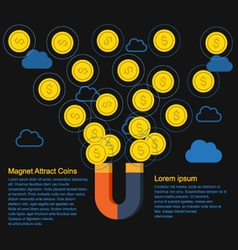 Magnet attract money concept vector