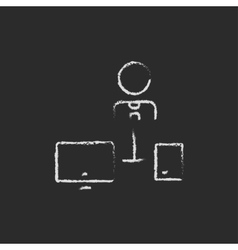 Man with computer set drawn in chalk vector