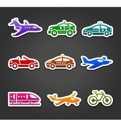 Set of sticky stickers transport color pictograms vector