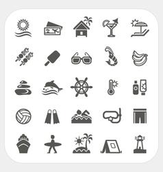 Summer holiday icons set vector