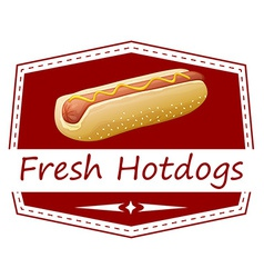 A fresh hotdog label vector
