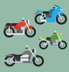 Flat design of motorcycle set vector