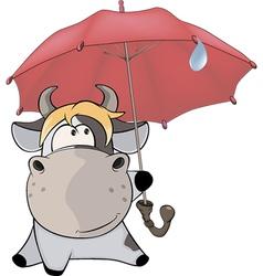 A small cow and an umbrella cartoon vector