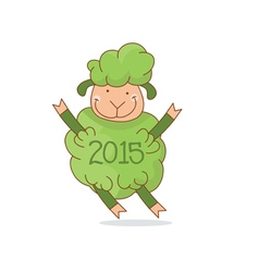 Funny green sheep symbol 2015 year vector