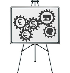 Gear of business in easel vector