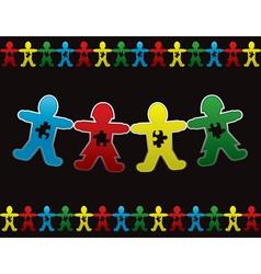 Child autism paper dolls background vector