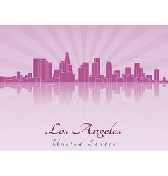 Los angeles skyline in purple radiant orchid vector